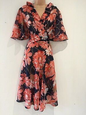 Vintage 70's Pretty Navy Blue Coral Floral Ruffle Trim Semi Sheer Dress Size 12