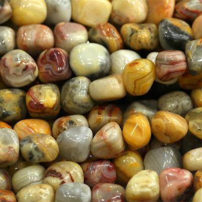 Natural Genuine Yellow Crazy Lace Agate Nugget Loose Beads Free Form 16""
