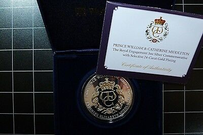 2010 Proof 5 Oz 65mm Silver + 24ct Gold Medal Coin Prince William Kate Middleton