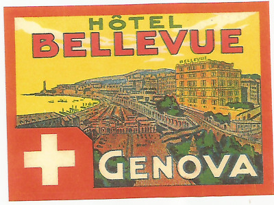 HOTEL BELLEVUE luggage DECO label (GENOVA)