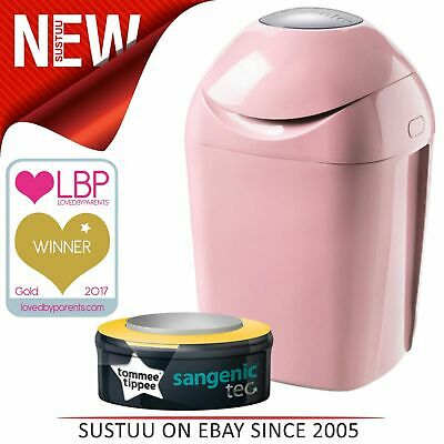 Tommee Tippee Sangenic Hygiene Tec Nappy Disposal Tub Whisper Pink│Cassette x1