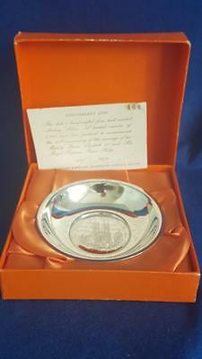 Cooper Bros H/marked Sterling Silver ERII & Pr Philip Silver Wedding Anniv Dish