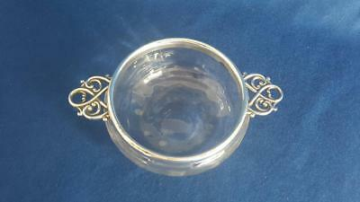 Scarce Victorian Handblown Glass & Hallmarked Sterling Silver Quaich B'ham 1898