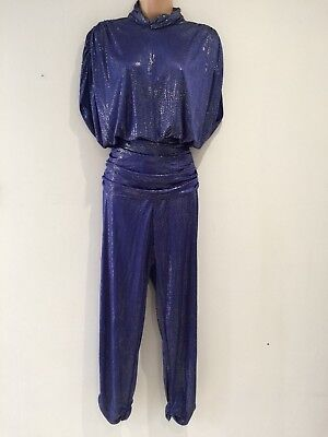 Vintage 80's Midnight Blue & Gold Shiny Over Size Evening Disco Jumpsuit 14