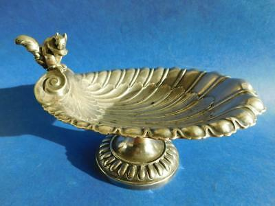 Walker & Hall Silver Scallop Form Raised Comport Bowl Centerpiece with Squirrel