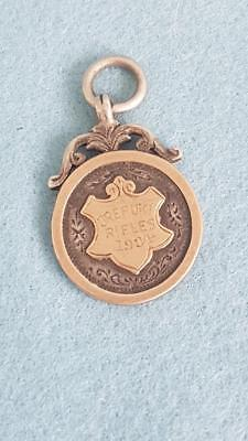 H/marked Sterling Silver & 9ct Rose Gold Orepuki (New Zealand) Rifles Fob Medal