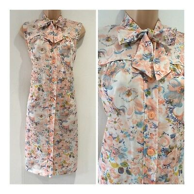 Vintage 70's White Coral & Blue Floral Pussy Bow Neck Tie Shift Dress Size 12-14