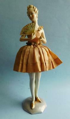 Rare Standing Porcelain half Doily Doll With Legs! 1900s German Original Dress