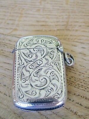 Hm1907 Antique Edwardian Solid Silver Vesta Match Safe Fob Chain Chatelain Nr