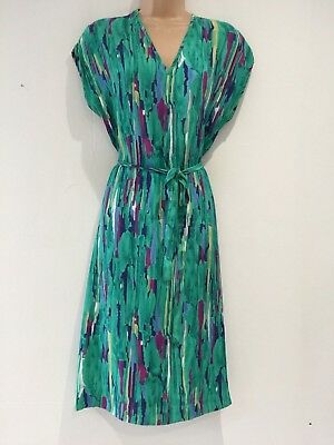 Vintage 80's Retro Green Navy Blue & Pink Abstract Stripe Belted Day Dress 12