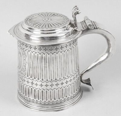 "Antique Queen Anne English Silver Lidded Tankard  ""LE""1703"