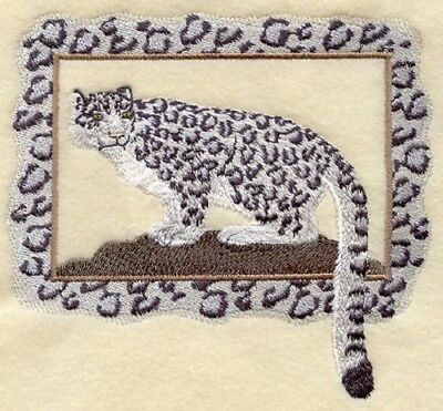 Large Embroidered Zippered Tote - Snow Leopard A4506