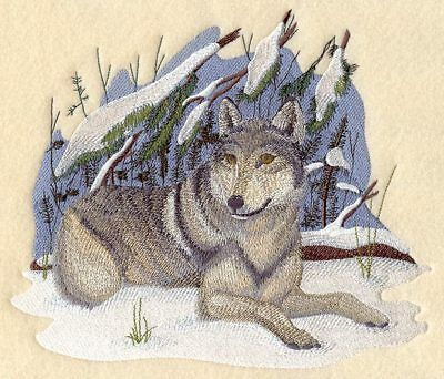 Large Embroidered Zippered Tote - Winter Wolf C5501