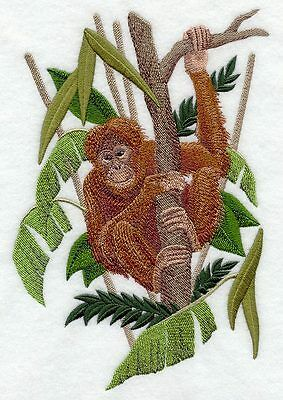 Large Embroidered Zippered Tote - Orangutan C8185
