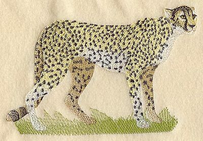 Large Embroidered Zippered Tote - Cheetah M2104