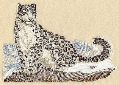 Large Embroidered Zippered Tote - Snow Leopard M2110