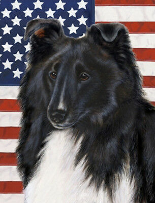 Large Indoor/Outdoor Patriotic II Flag - Black & White Shetland Sheepdog 32228