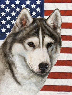 Large Indoor/Outdoor Patriotic II Flag - Grey & White Siberian Husky 32018