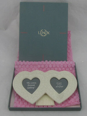 "MIB - Lenox Double Heart Ivory 2"" x 3"" Picture Frame"