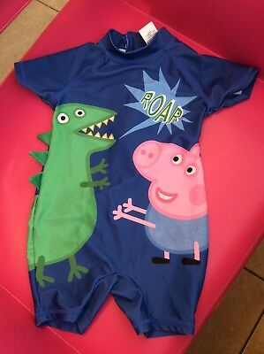 Baby Boys Next Peppa Pig Swimming Costume All In One Sun Protection 12/18 Months