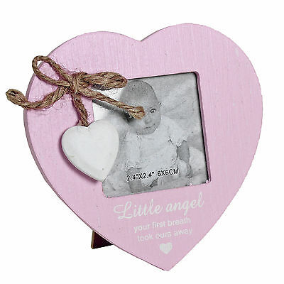 Pink wooden heart photo frame with heart attachment - New Baby Girl