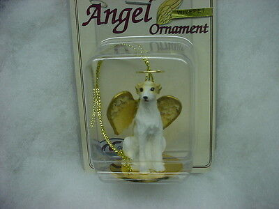 WHIPPET Tan White dog ANGEL Ornament RESIN Figurine Statue NEW Christmas puppy