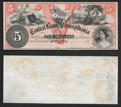 "**blazing High Grade** $5 1800's ""hollidaysburg, Pennsylvania"" >>Gorgeous Note<<"