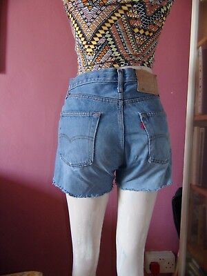 LEVIS 501 vintage High waisted frayed blue denim cut off shorts size 14