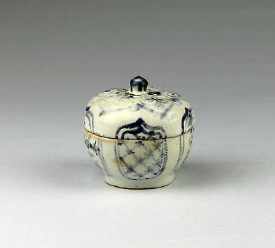 Rare 15/16thC Antique Chinese Ming Blue & White Fruit Shaped Covered Box