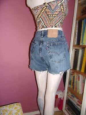 LEVIS 501s vintage High waisted frayed blue denim cut off shorts size 14