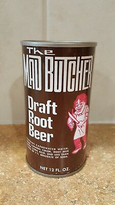 1970's Straight Steel Mad Butcher Root Beer Pull Tab Soda Pop Can