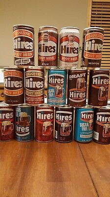 Lot of 15 Hires Root Beer Soda Pop Cans