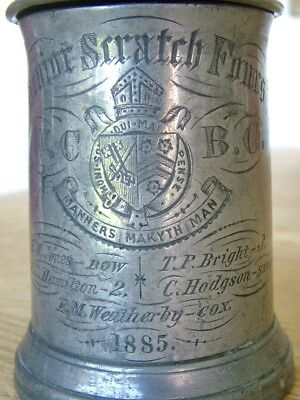 1885 Senior Scratch Fours Rowing Tankard Winchester College Pewter Glass Dixon