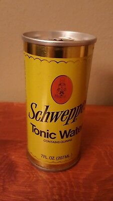1970s Schweppes Straight Steel Tonic Water Soda Pop Can 7 oz