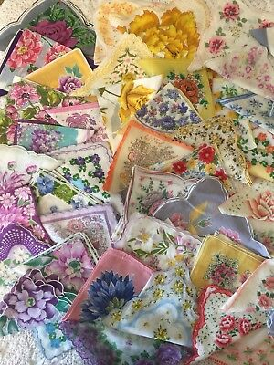 Lot of 65 Vintage Floral Print HANDKERCHIEFS / HANKIES