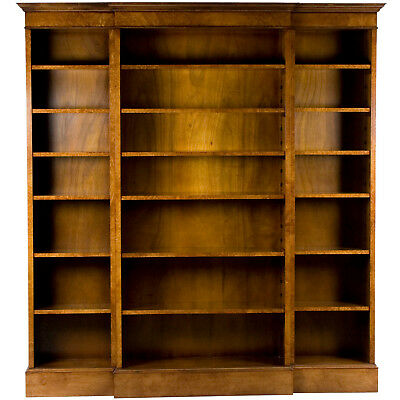 New Antique Style Tall Breakfront Open Bookcase Bookshelf Library Office Home FS