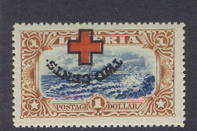 Liberia 1918 Red Cross overprint on $1 ship off coast, INVERTED ovpt., NH, #B13