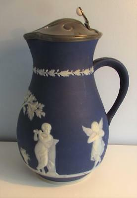 Antique 19thC Wedgwood Style Blue Jasper Ware Jug with Pewter Lid - Neoclassical