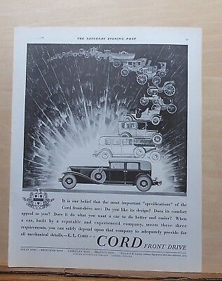 1930 magazine ad for Cord Autos - Cord & parade of autos, Front-drive