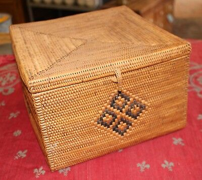 Antique Asian Square Tea Basket Nice Condition Chinese Japanese