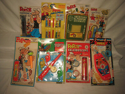 Lot of Eight Assorted Vintage Popeye Toys, Games, Etc All Mint On Cards MQ8