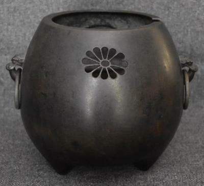 Antique Japanese Bronze Two Handled Hibachi With Flower Motif