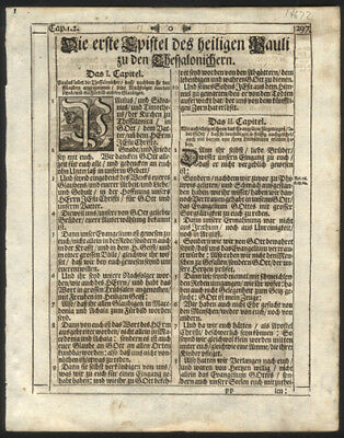 1705 New Testament German Bible Leaf Paul's Epistle to The Thessalonians
