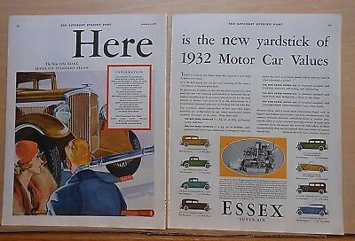 1932 two page magazine ad for Essex - Super Six Sedan, new yardstick of values