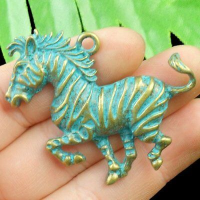 N66747 Carved Brass Bronze Horse Pendant Bead 50x35x4mm