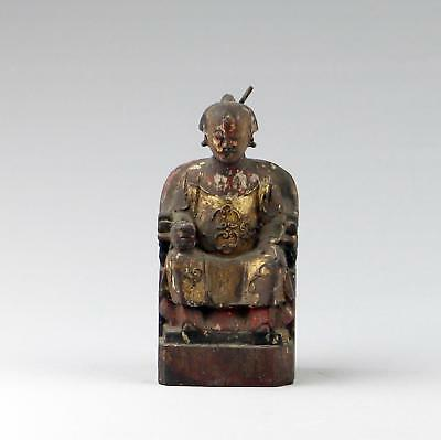 Antique Chinese Qing Carved Wood Seated Official Polychrome Sculpture Figure #3