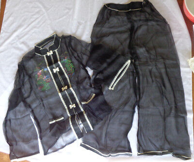Vintage 1950's Women's Asian Black Tissue Silk Painted Sheer Pajamas NIP