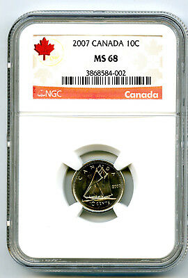 2007 Canada 10 Cent Ngc Ms68 Dime With Rcm Logo Rare...top Highest Grade Only 3