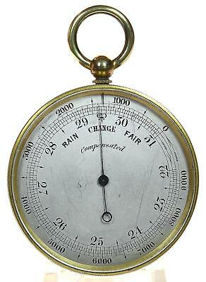 Gilt brass English pocket aneroid barometer & altimeter + case fully working