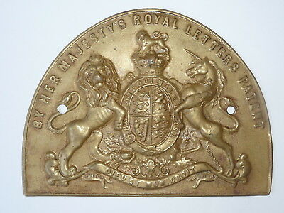 Vintage   Pressed  Brass  Royal  Crest  Safe  Plate / Plaque